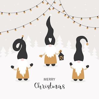 Sezon pozdrowienia. wektorowa kartka świąteczna z uroczymi małymi gnomami.