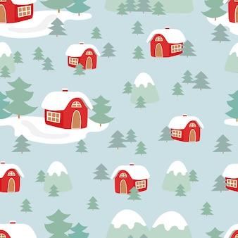 Sezon zimowy na wsi wzór