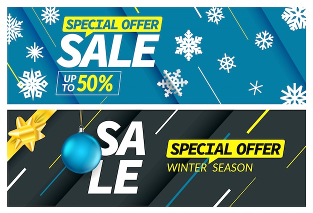 Sezon zimowy sprzedaż oferta specjalna transparent zestaw