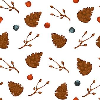 Sezon zimowy symbole bożego narodzenia i zimnej pory roku, wzór szyszek i suchej gałęzi. jagody i jemioła. tło dla karty z pozdrowieniami lub druku tekstylnego. wektor w stylu płaskiej