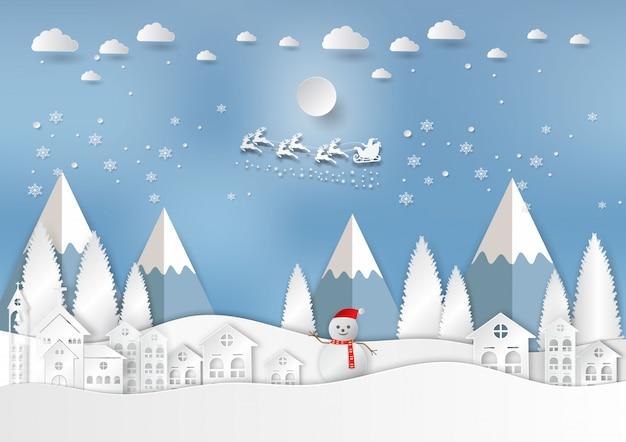 Sezon zimowy z płatka śniegu i santa w mieście. wektorowa ilustracja wesoło boże narodzenia