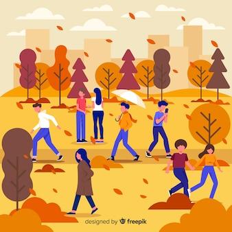 Sezonowa aktywność jesień w parkowej ilustraci