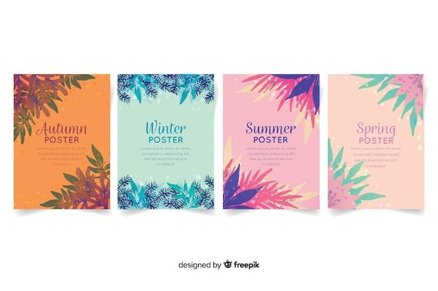 Sezonowa kolekcja plakatów w stylu akwareli
