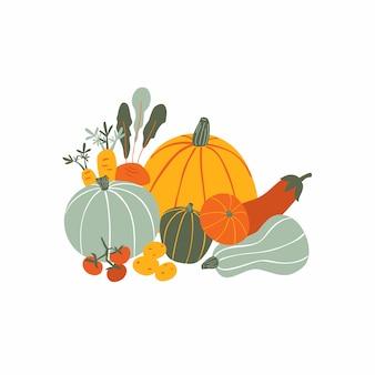Sezonowa kompozycja zbiorów z naturalnym zdrowym jedzeniem.