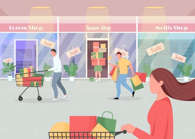 Sezonowa sprzedaż w płaskiej kolorystyce centrum handlowego. konsumenci kupują produkty objęte promocją. kupoholicy w pośpiechu. klienci postaci z kreskówek 2d z wnętrzem supermarketu w tle