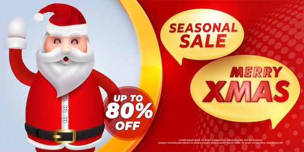 Sezonowa wyprzedaż świąteczny transparent projekt szablonu oferty specjalnej z ilustracją szczęśliwego świętego mikołaja