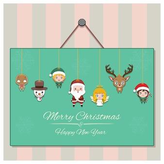 Sezonowe powitanie z girlandą świątecznych znaków
