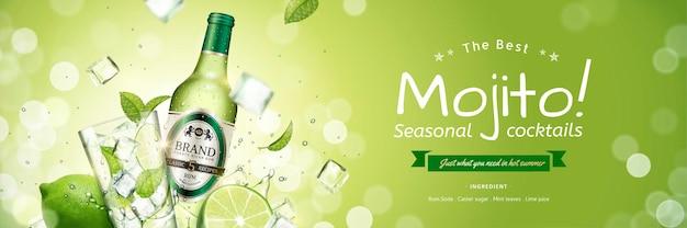 Sezonowy baner mojito z latającymi kostkami lodu i zielonymi liśćmi na błyszczącej powierzchni, ilustracja 3d