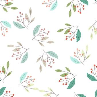 Sezonowy wzór lasu na białym tle z losowymi dzikimi jagodami i elementami niebieskich liści