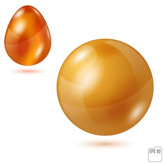 Sferyczny i jajowaty przedmiot.