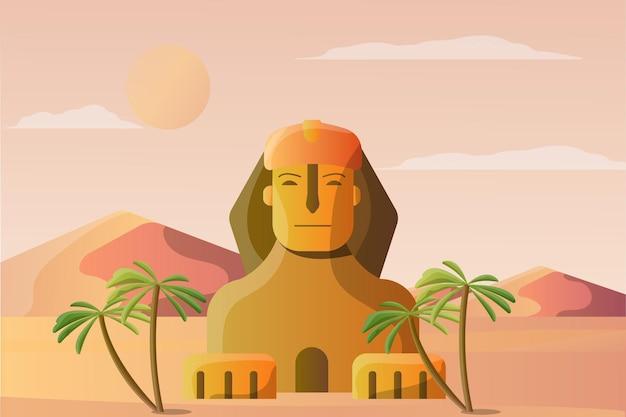 Sfinks Ilustracja Krajobraz Dla Atrakcji Turystycznej Premium Wektorów