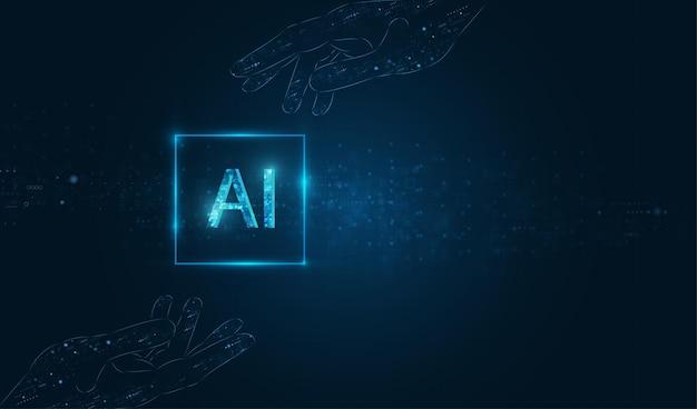 Sformułowanie ai (sztucznej inteligencji) z projektem dłoni.