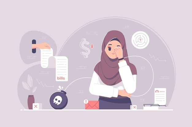 Sfrustrowana dziewczyna hidżabu myśli o długu