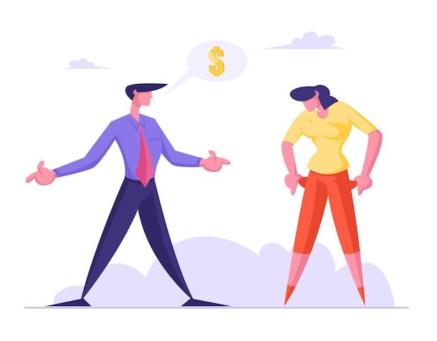 Sfrustrowana kobieta pokazuje biznesmenowi puste kieszenie, prosząc o pieniądze od niej
