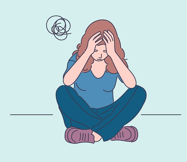 Sfrustrowana kobieta siedzi na podłodze wyciągnąć rękę