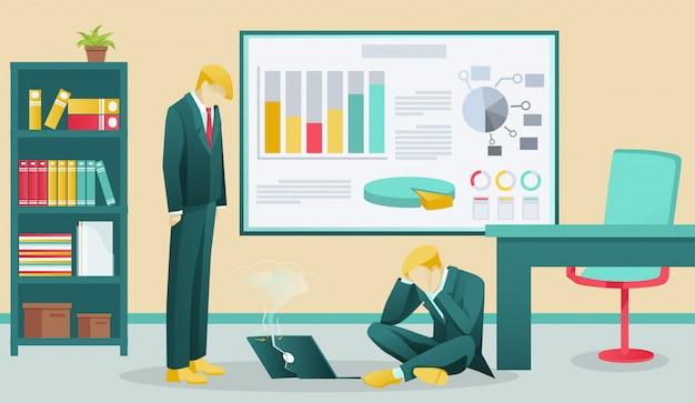 Sfrustrowani biznesmeni w biurze i zepsuty laptop