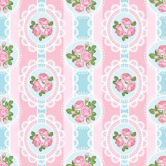 Shabby chic róża wzór na różowym tle