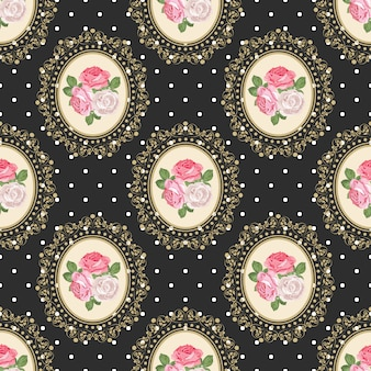 Shabby chic róża wzór na tle polka dot.