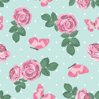 Shabby chic róże i motyle wzór na tle polka dot.