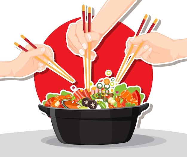 Shabu shabu i sukiyaki w gorącym garnku w restauracji, ręka trzymająca pałeczki jedząca shabu shabu