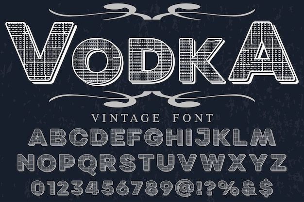 Shadow effect wódka projektowania etykiet alfabetu