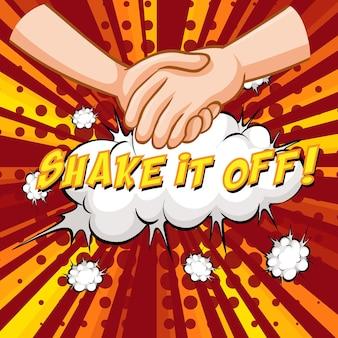 Shake it off z tekstem komiksowym dymkiem na rozerwanie