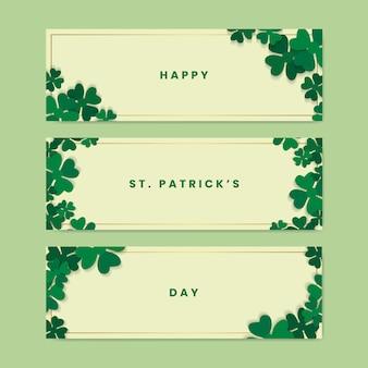 Shamrock st.patrick's day zestaw kart wektor