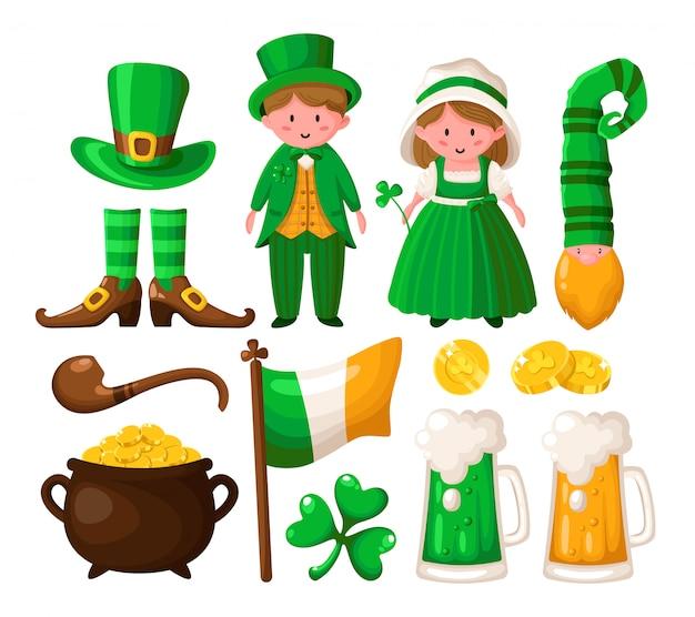 Shamrock z kreskówki saint patricks day, krasnoludek, garnek złotych monet, uroczy chłopak i dziewczyna w zielonych strojach retro