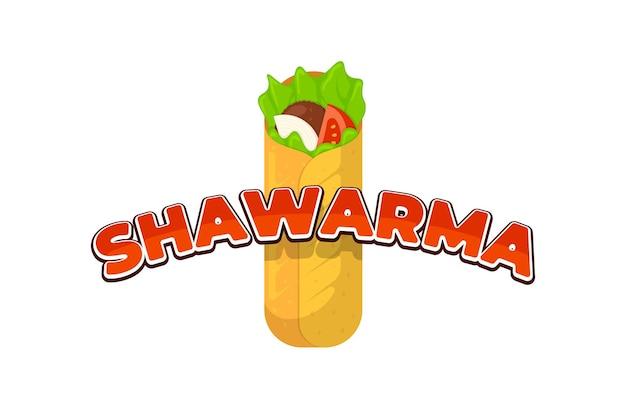 Shawarma fast food mięsna rolka z napisem menu restauracji szablon projektu znaku reklamowego