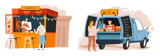 Shawarma i kawa uliczne jedzenie i przekąski na wynos