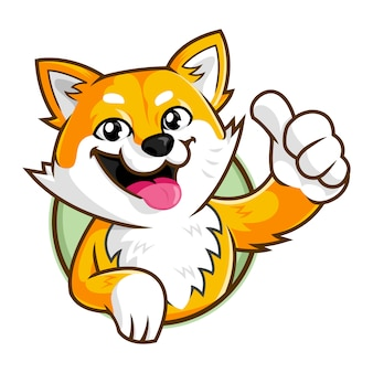 Shiba inu pies maskotka charakter, uśmiechnięty pies logo szablon logo
