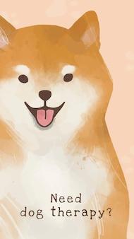 Shiba inu szablon wektor ładny pies cytuje historię mediów społecznościowych, potrzebujesz terapii dogo!