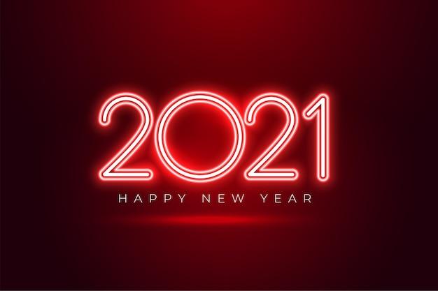 Shiony czerwony neon 2021 szczęśliwego nowego roku tło uroczystości