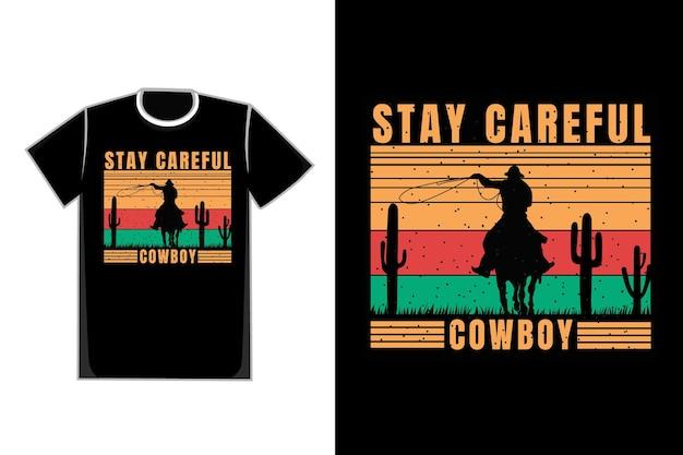 -shirt sylwetka kowboj kaktus retro vintage