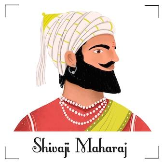 Shivaji maharaj charakter ilustracja