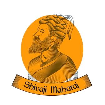 Shivaji maharaj ręcznie rysowane projekt