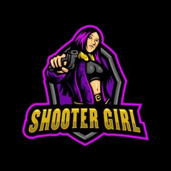 Shooter girl maskotka logo esport gaming