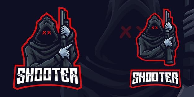 Shooter maskotka gaming logo szablon dla esports streamer facebook youtube