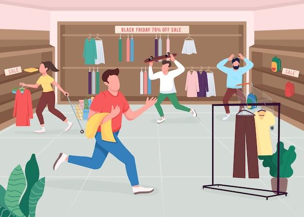 Shopaholics on black friday flat color illustration. sklep odzieżowy w sezonowej wyprzedaży. klienci kupujący zakupy. kupujący postaci z kreskówek 2d z butikowym wnętrzem na tle