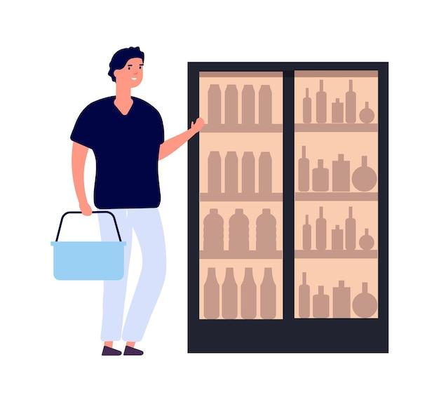 Shopper i lodówka. mężczyzna kupuje napoje. płaski męski charakter z koszyka. na białym tle facet w ilustracji wektorowych sklepu spożywczego. kupujący kupujący w supermarkecie, wybierający mężczyzna klienta