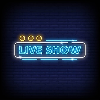 Show na żywo neonowe znaki styl tekst wektor