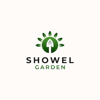 Showel garden green gradient logo szablon na białym tle na białym tle