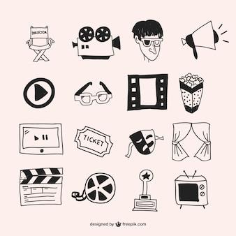 Showtime rysowane ręcznie grafiki wektorowe