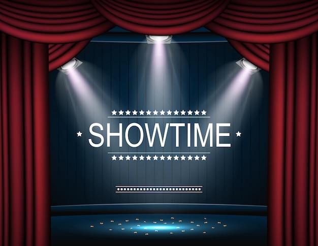 Showtime tło z zasłoną oświetloną reflektorami