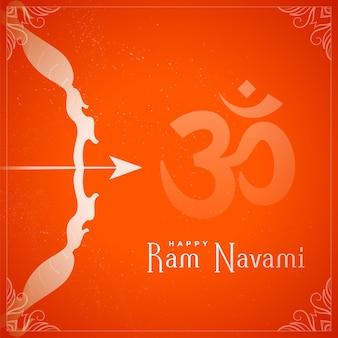 Shree ram navami hinduskie święto dekoracyjna kartka okolicznościowa z łukiem i strzałą