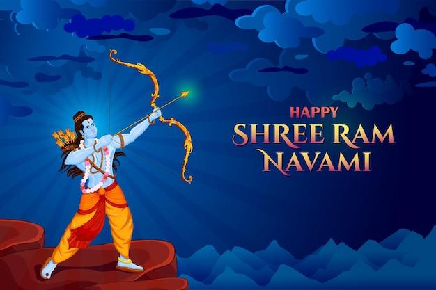 Shri ram navami z łukiem i strzałą kartka z pozdrowieniami pana ramy