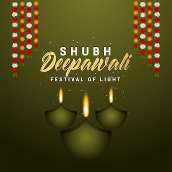 Shubh diwali festiwal światła zaproszenia z życzeniami i tła