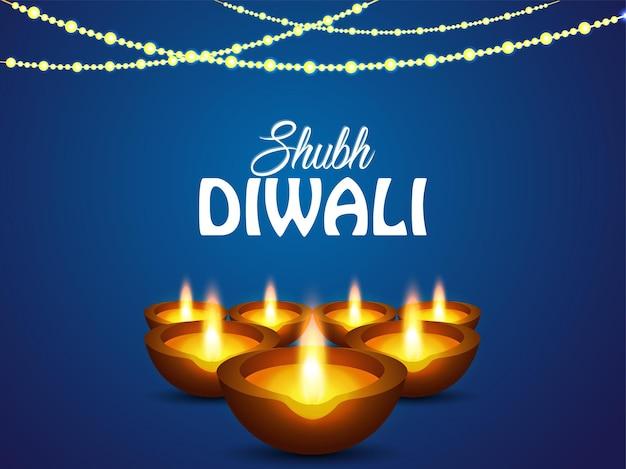 Shubh diwali indyjski festiwal okolicznościowy kartka z życzeniami z kreatywnym diwali diya
