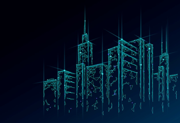 Siatka druciana 3d low poly smart city. koncepcja biznesowa inteligentnego systemu automatyki budynkowej. internetowa sieć komputerowa online. architektura pejzażu miejskiego technologii nakreślenia miastowa ilustracja