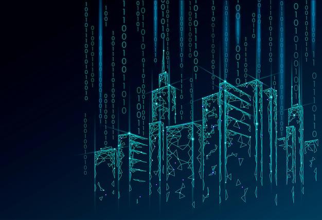 Siatka druciana 3d low poly smart city. koncepcja biznesowa inteligentnego systemu automatyki budynkowej. przepływ danych binarnego numeru kodu. architektura pejzażu miejskiego technologii nakreślenia miastowa ilustracja